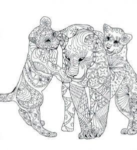 Ausmalbilder Erwachsene Tiger Familie 2