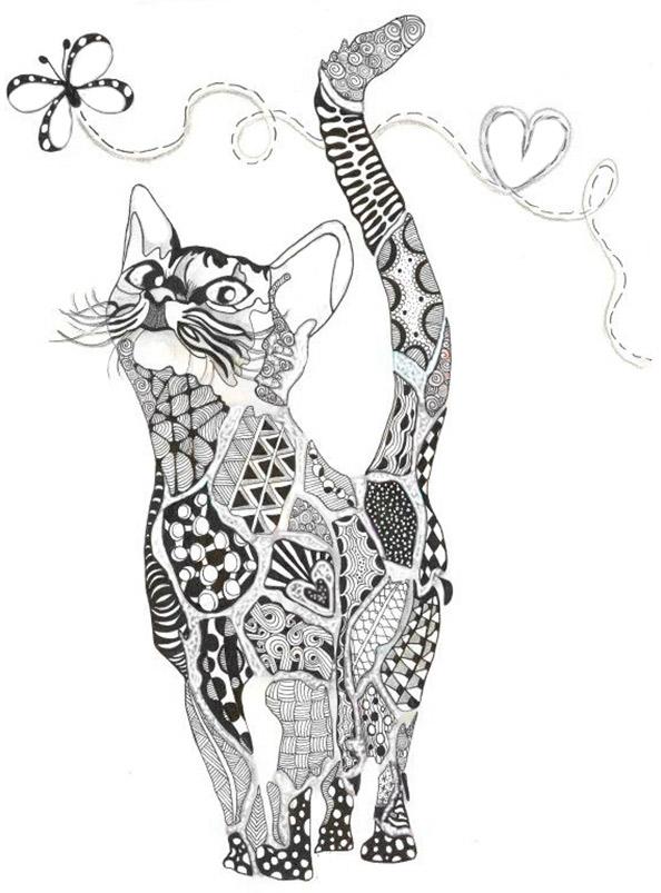 Malvorlagen Erwachsene Katze 1