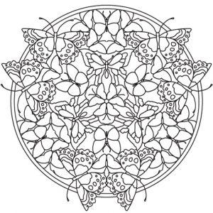 Malvorlagen Erwachsene Mandala mit Schmetterling 6