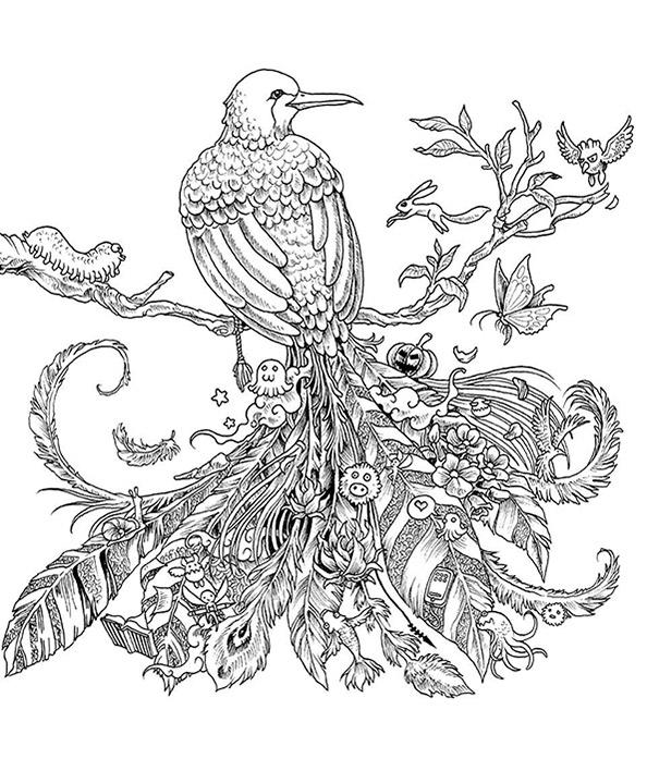 Schwierige ausmalbilder Vogel 1