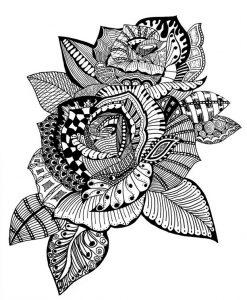 Ausmalbilder Erwachsene Blumen Rosen 5