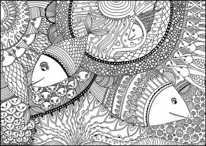 Schwierige Ausmalbilder Fisch 2