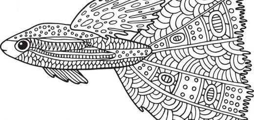 Schwierige ausmalbilder Fisch 4