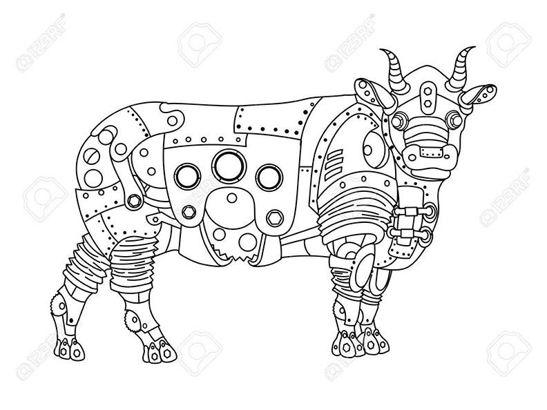 Malvorlagen für Erwachsene Stier. 16