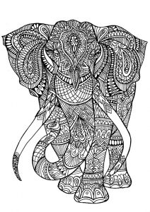 Bilder zum ausmalen für Erwachsene Elefant 20