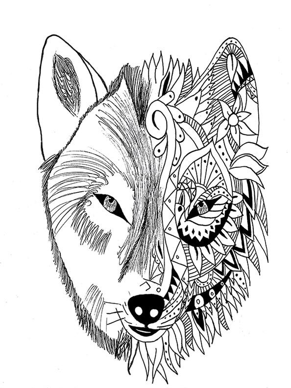 Schwierige ausmalbilder Wolf 3