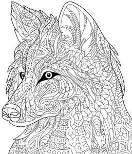 Schwierige ausmalbilder Wolf 4