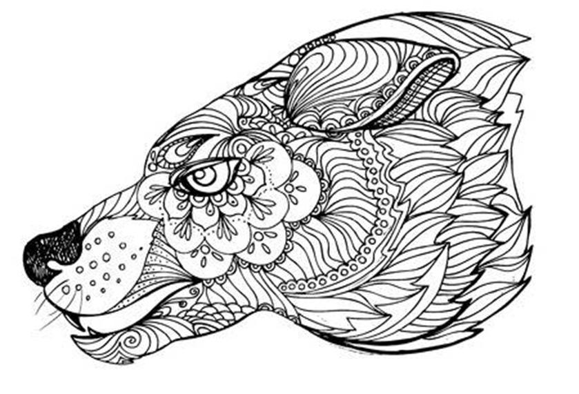mandala wolf zum ausmalen