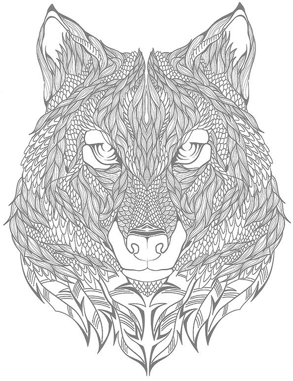 Schwierige ausmalbilder Wolf 9