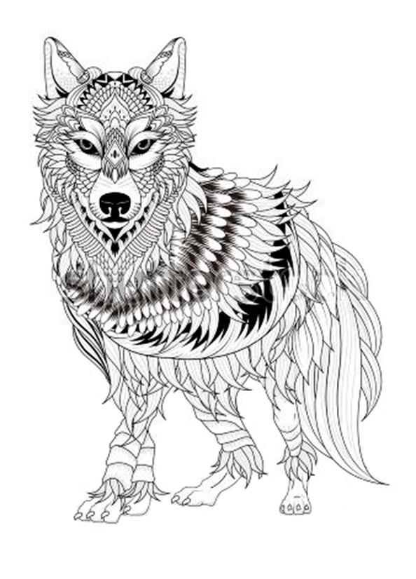 Schwierige ausmalbilder Wolf 10