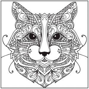 Ausmalbilder kostenlos Erwachsene Katze 6