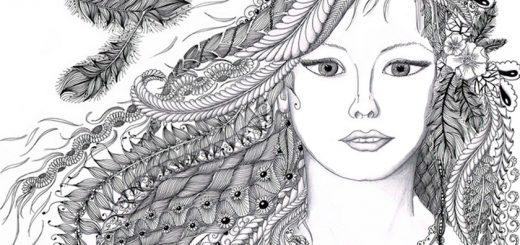 Ausmalbild für Erwachsene Gesicht einer Frau 10