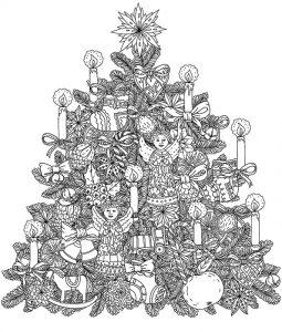 Ausmalbilder für Erwachsene Weihnachtsbaum. Bild 7