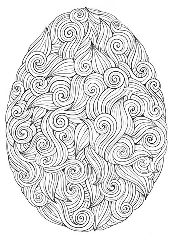 Ausmalbilder für Erwachsene Ostern. Osterei 1