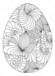 Ausmalbilder für Erwachsene Ostern. Osterei