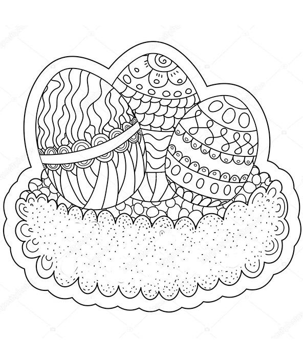 Ausmalbilder für Erwachsene Ostern. Osterei 3