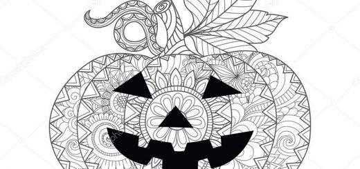 Ausmalbilder Erwachsene Halloween. Kürbis 14